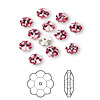 Bead, Swarovski crystal, rose, foil back, 6x2mm faceted marguerite lochrose flower (3700). Sold per pkg of 12.
