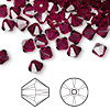 Bead, Swarovski crystal, ruby, 6mm Xilion bicone (5328). Sold per pkg of 360.