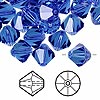 Bead, Swarovski crystal, sapphire, 10mm Xilion bicone (5328). Sold per pkg of 144 (1 gross).