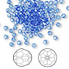 Bead, Swarovski crystal, sapphire, 3mm faceted round (5000). Sold per pkg of 720 (5 gross).