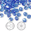 Bead, Swarovski crystal, sapphire AB, 6mm faceted round (5000). Sold per pkg of 144 (1 gross).