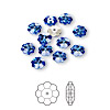 Bead, Swarovski crystal, sapphire, foil back, 6x2mm faceted marguerite lochrose flower (3700). Sold per pkg of 12.
