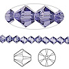 Bead, Swarovski crystal, tanzanite, 5mm Xilion bicone (5328). Sold per pkg of 144 (1 gross).