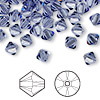 Bead, Swarovski crystal, tanzanite, 6mm Xilion bicone (5328). Sold per pkg of 360.