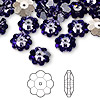 Bead, Swarovski crystal, tanzanite, foil back, 10x3.5mm faceted marguerite lochrose flower (3700). Sold per pkg of 12.