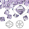 Bead, Swarovski crystal, violet, 8mm Xilion bicone (5328). Sold per pkg of 12.