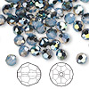 Bead, Swarovski crystal, white opal star shine, 6mm faceted round (5000). Sold per pkg of 144 (1 gross).