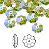Bead, Swarovski crystal with third-party coating, Crystal Passions®, peridot glacier blue, 10x3.5mm faceted marguerite lochrose flower (3700). Sold per pkg of 12.