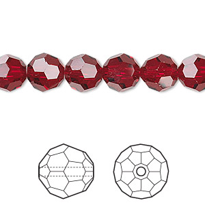Bead, Swarovski® crystals, Crystal Passions®, Siam, 8mm faceted round (5000). Sold per pkg of 12.