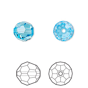 Bead, Swarovski® crystals, Crystal Passions®, aquamarine, 10mm faceted round (5000). Sold per pkg of 2.