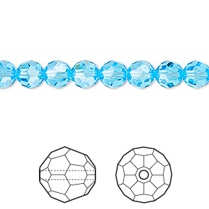 Bead, Swarovski® crystals, Crystal Passions®, aquamarine, 6mm faceted round (5000). Sold per pkg of 12.