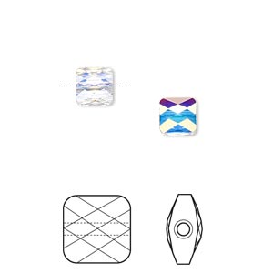 Bead, Swarovski® crystals, Crystal Passions®, crystal AB, 6x6mm faceted mini square (5053). Sold per pkg of 24.