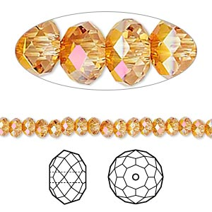 Bead, Swarovski® crystals, Crystal Passions®, crystal astral pink, 4x3mm faceted rondelle (5040). Sold per pkg of 12.