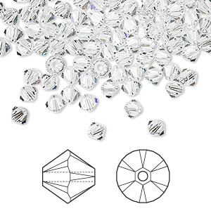 Bead, Swarovski® crystals, Crystal Passions®, crystal clear, 4mm Xilion bicone (5328). Sold per pkg of 144 (1 gross).