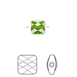 Bead, Swarovski® crystals, Crystal Passions®, fern green, 8x8mm faceted mini square (5053). Sold per pkg of 2.
