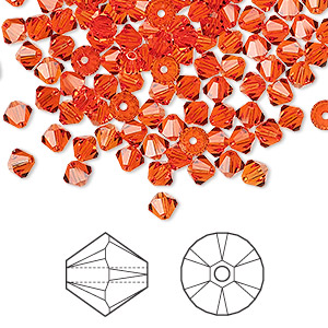Bead, Swarovski® crystals, Crystal Passions®, hyacinth, 4mm Xilion bicone (5328). Sold per pkg of 48.