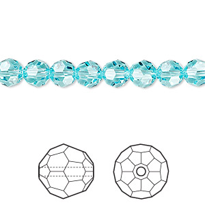 Bead, Swarovski® crystals, Crystal Passions®, light turquoise, 6mm faceted round (5000). Sold per pkg of 12.