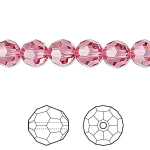 Bead, Swarovski® crystals, Crystal Passions®, rose, 8mm faceted round (5000). Sold per pkg of 12.