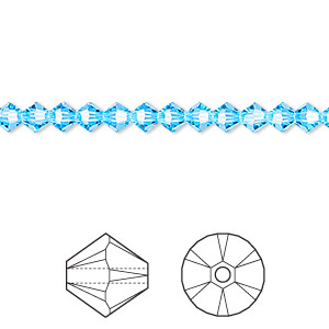 Bead, Swarovski® crystals, aquamarine, 4mm Xilion bicone (5328). Sold per pkg of 48.