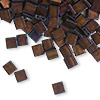 Bead, Tila®, glass, opaque matte metallic dark raspberry, (TL2005), 5x5mm square with (2) 0.8mm holes. Sold per 10-gram pkg.
