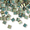 Bead, Tila®, glass, opaque matte metallic patina iris green, (TL2008), 5x5mm square with (2) 0.8mm holes. Sold per 10-gram pkg.