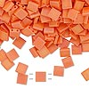 Bead, Tila®, glass, opaque matte rainbow orange, (TL406FR), 5x5mm square with (2) 0.8mm holes. Sold per 40-gram pkg.