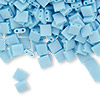 Bead, Tila®, glass, opaque matte rainbow robin's egg blue, (TL413FR), 5x5mm square with (2) 0.8mm holes. Sold per 250-gram pkg.
