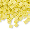 Bead, Tila®, glass, opaque matte rainbow yellow, (TL404FR), 5x5mm square with (2) 0.8mm holes. Sold per 10-gram pkg.