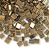 Bead, Tila®, glass, opaque metallic dark bronze, (TL457), 5x5mm square with (2) 0.8mm holes. Sold per 40-gram pkg.