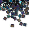 Bead, Tila®, glass, opaque metallic iris blue, (TL455), 5x5mm square with (2) 0.8mm holes. Sold per 10-gram pkg.