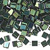 Bead, Tila®, glass, opaque metallic malachite green, (TL468), 5x5mm square with (2) 0.8mm holes. Sold per 40-gram pkg.