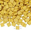 Bead, Tila®, glass, opaque satin matte rich yellow, (TL2311), 5x5mm square with (2) 0.8mm holes. Sold per 40-gram pkg.