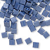 Bead, Tila®, glass, satin denim blue, (TL2075), 5x5mm square with (2) 0.8mm holes. Sold per 40-gram pkg.