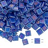Bead, Tila®, glass, transparent matte rainbow blueberry, (TL151FR), 5x5mm square with (2) 0.8mm holes. Sold per 10-gram pkg.