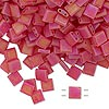 Bead, Tila®, glass, transparent matte rainbow light fire red, (TL140FR), 5x5mm square with (2) 0.8mm holes. Sold per 40-gram pkg.