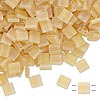 Bead, Tila®, glass, transparent matte rainbow light lemon, (TL132FR), 5x5mm square with (2) 0.8mm holes. Sold per 40-gram pkg.