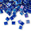 Bead, Tila®, glass, transparent rainbow dark cobalt, (TL177), 5x5mm square with (2) 0.8mm holes. Sold per 40-gram pkg.