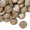 Bead, acrylic, brown and silver, 18mm double-sided flat round with tic-tac-toe design, 2mm hole. Sold per pkg of 50.