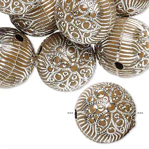 Bead, acrylic, brown and silver, 18mm round with flower and line design, 2.5mm hole. Sold per pkg of 24.