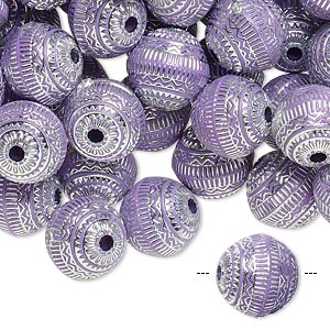 Bead, acrylic, purple and silver, 11mm round with line design, 2mm hole. Sold per pkg of 100.