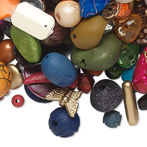Bead and component mix, acrylic, mixed colors, 4x3mm-53x52mm mixed shapes. Sold per 1/2 pound pkg, approximately 125 to 225 pieces.