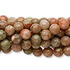 Bead, autumn jasper (natural), 6mm round, C grade, Mohs hardness 6-1/2 to 7. Sold per pkg of (10) 16-inch strands.