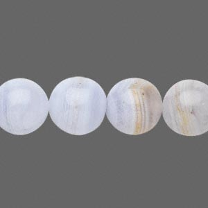 Bead, blue lace agate (natural), 12mm round, C grade, Mohs hardness 6-1/2 to 7. Sold per 15-inch strand.