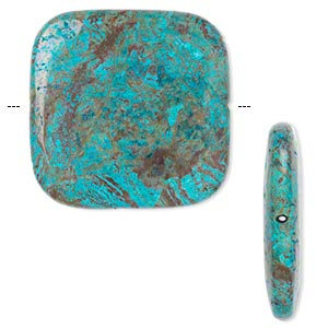 Bead, blue sky jasper (dyed / stabilized), 40x40mm flat square, C grade, Mohs hardness 6-1/2 to 7. Sold per pkg of 2.