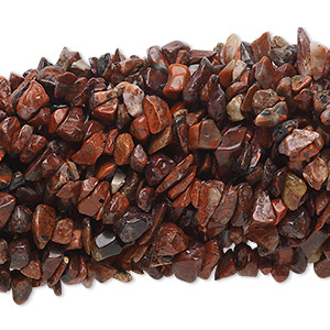 Bead, brecciated jasper (natural), medium chip with 0.5-1.5mm hole, Mohs hardness 6-1/2 to 7. Sold per pkg of (10) 34-inch strands.
