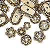 "Bead cap mix, antiqued gold-plated ""pewter"" (zinc-based alloy), 6x2mm-18x6mm mixed shape. Sold per pkg of 50."