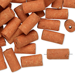 Bead, ceramic, burnt orange, 12x6mm-15x7mm round tube with 1.5-2mm hole. Sold per pkg of 100.