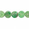 Bead, chalk turquoise (dyed / stabilized), apple green, 10mm flat round, C grade, Mohs hardness 5 to 6. Sold per 16-inch strand.