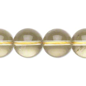Bead, chardonnay quartz (heated), 14-16mm round, B grade, Mohs hardness 7. Sold per 15-inch strand.
