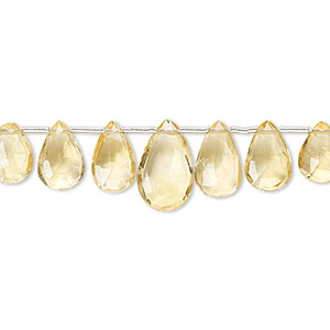 Bead, citrine (heated), 6x4mm-12x7mm graduated hand-cut top-drilled faceted puffed teardrop, B grade, Mohs hardness 7. Sold per 4-inch strand, approximately 15 beads.